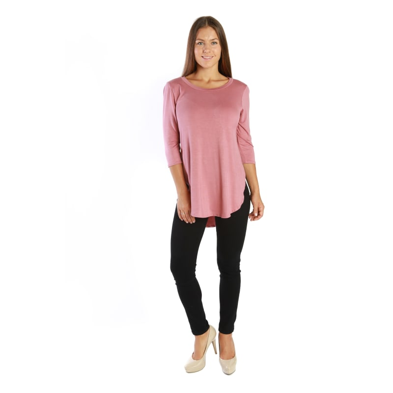 3/4 Sleeve Cute Casual Fashion Tunic Flowy Top with Shirt Tail Side Slit - MADE IN USA - All Sizes + Colors