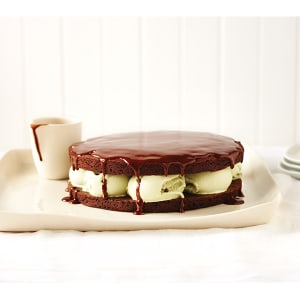 Chocolate And Ice Cream Cake With Hot Chocolate Sauce