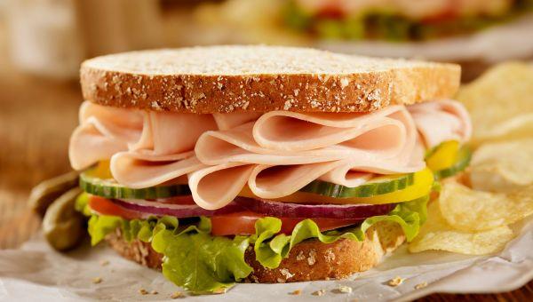 Turkey, cucumber and cream cheese sandwich