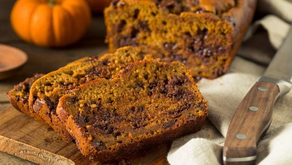 Avocado pumpkin bread with dark chocolate chips and almonds