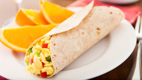 Veggie and egg breakfast burritos