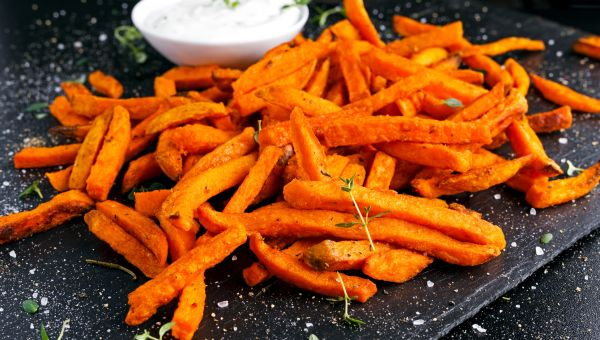 Spiced Sweet Potato Oven Fries with Garlicky Yogurt Dip