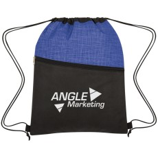 Crosshatch Two-Tone Non-Woven Drawstring Bag