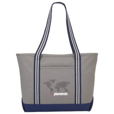 Stripe Handle 20 oz. Cotton Canvas Zipper Boat Tote