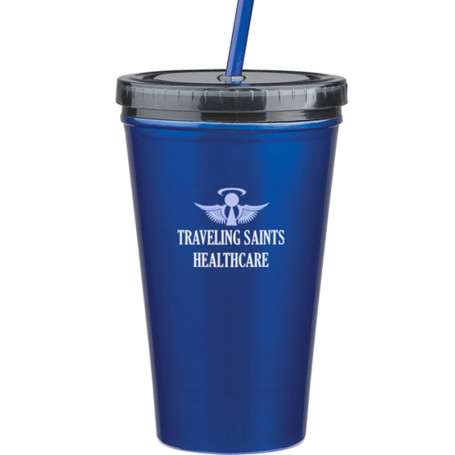 16 Oz. Stainless Double Wall Tumbler with Straw