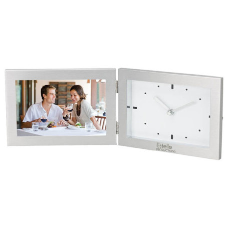 "Promo 6""x4"" Hinged Photo Frame and Clock"