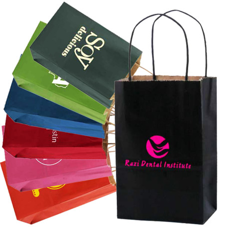 Imprintable Mini Tinted Kraft Shopping Bags