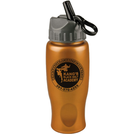 Custom Printed 27 oz. Metalike Bottle with Flip Straw Lid