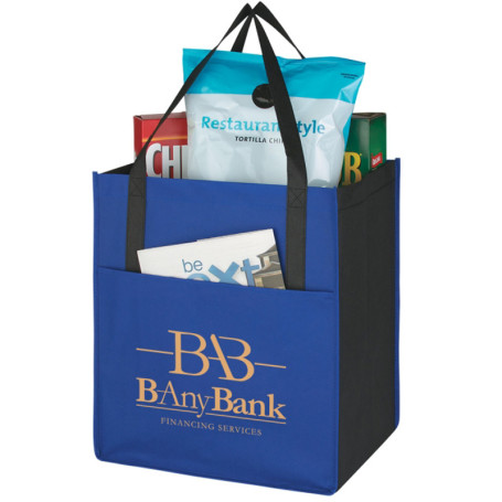 Personalized Non-Woven Shopper's Pocket Tote Bag