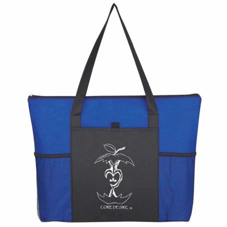 Logo Non-Woven Voyager Zippered Tote Bag