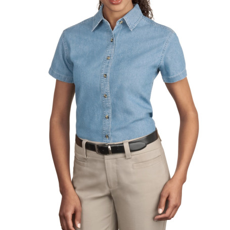 Port & Company - Ladies Short Sleeve Value Denim Shirt (Apparel)