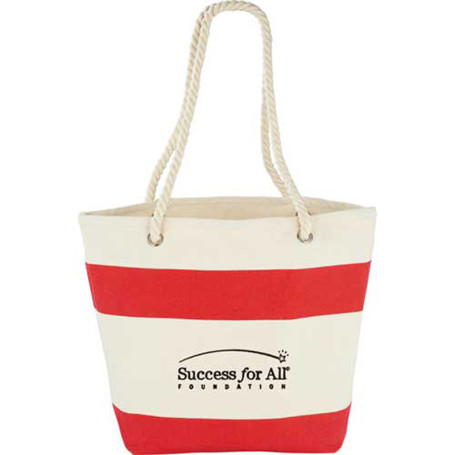 Monogrammed Capri Stripes Cotton Shopper Tote