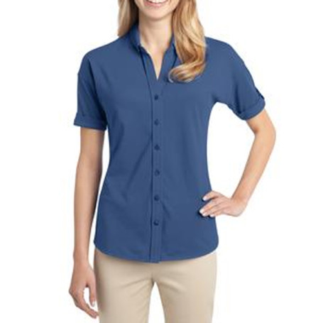 Port Authority Ladies Stretch Pique Button-Front Shirt