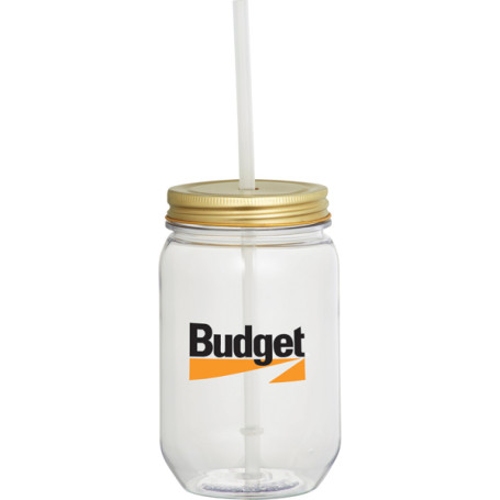 Promo Mason Jar 22oz. with Gold Tin Lid
