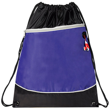 Two Tone Zipper Drawstring Bag