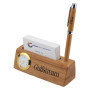 Bamboo Business Card and Pen Holder Clock