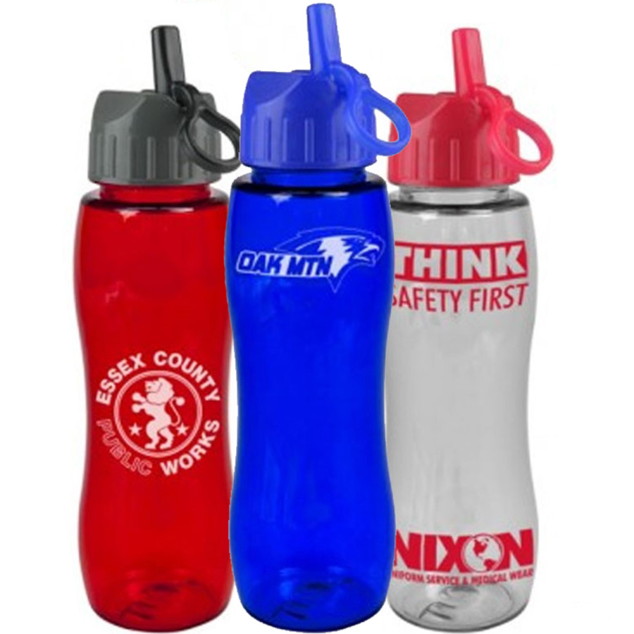 Custom Printed 25 oz. Poly-Pure Bottle with Flip Straw Lid - group