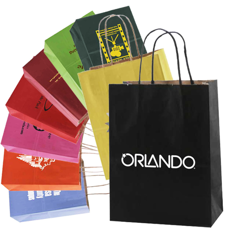 Custom Printed Tinted Kraft Shopping Bags