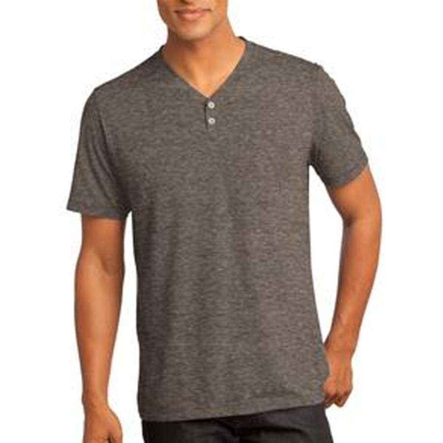District Made Mens Tri-Blend Short Sleeve Henley Tee