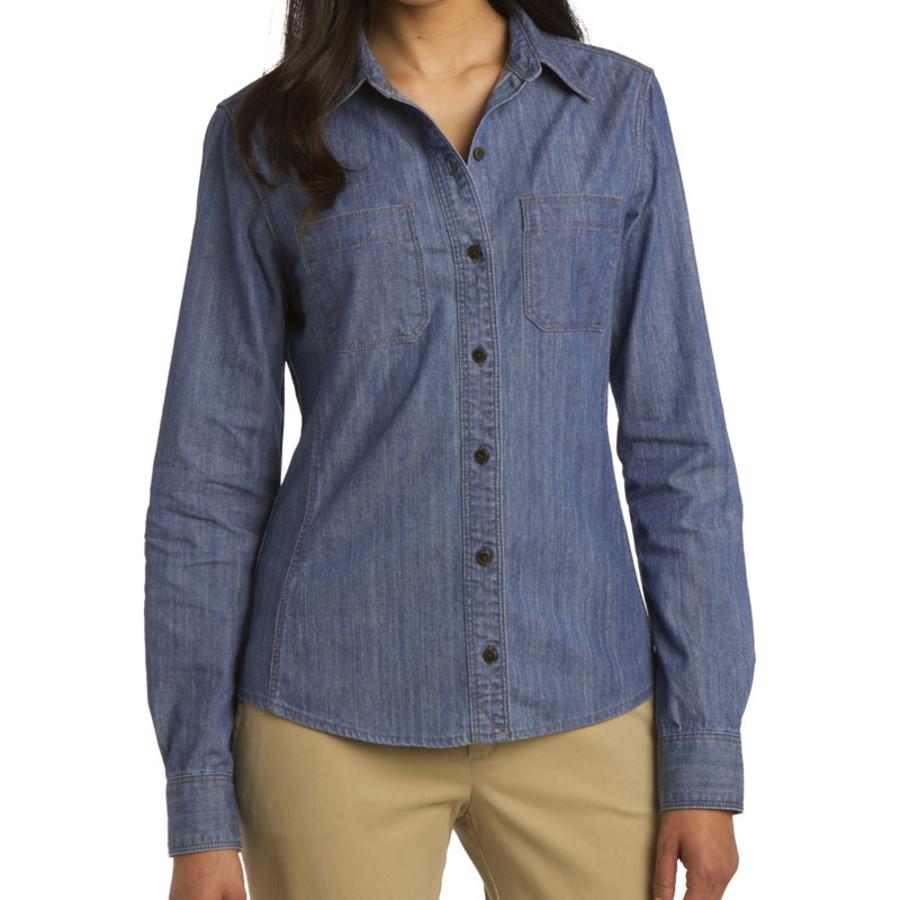 Port Authority Ladies Patch Pockets Denim Shirt (Apparel)