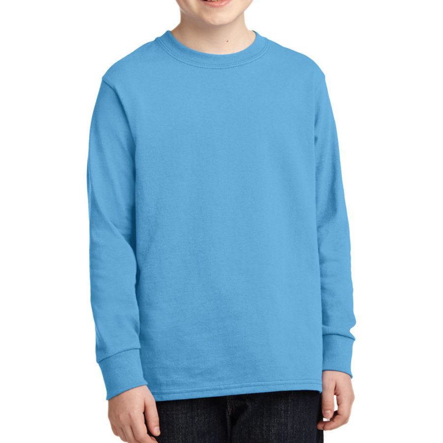 Port & Company Youth Long Sleeve 5.4-oz 100% Cotton T-Shirt (Apparel)
