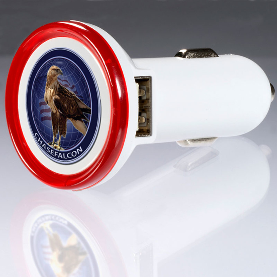 Printed Round USB Car Charger – Deluxe