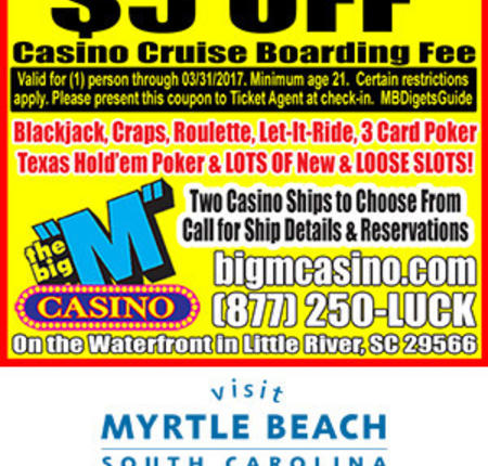 "Big ""M"" Casino - $5 Off Casino Cruise Boarding Fee"