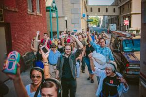 crowds are part of the action on the streets of Rochester during the Rochester Fringe Festival