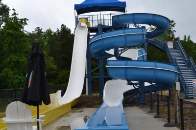 Sandy Beach Water Slides from Front
