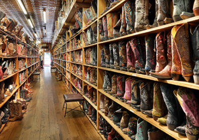 Allens Boots Wall of Boots