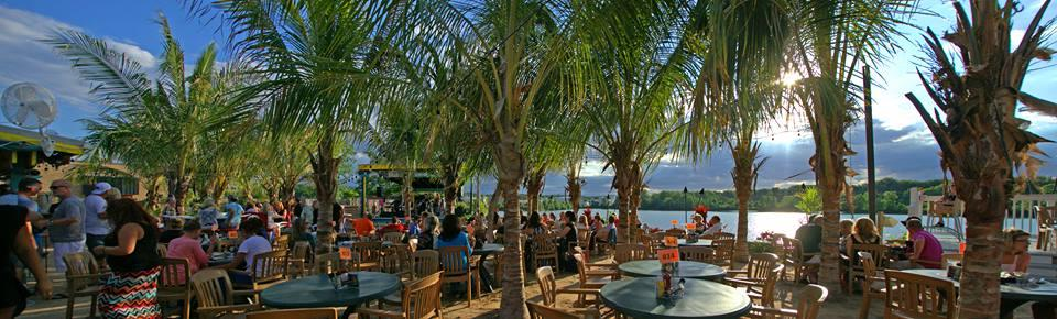 The Score's patio with palm trees in Grand Rapids, Michigan