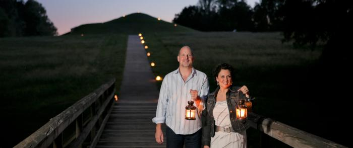 Couple at Lantern Light Tour at Ocmulgee National Monument