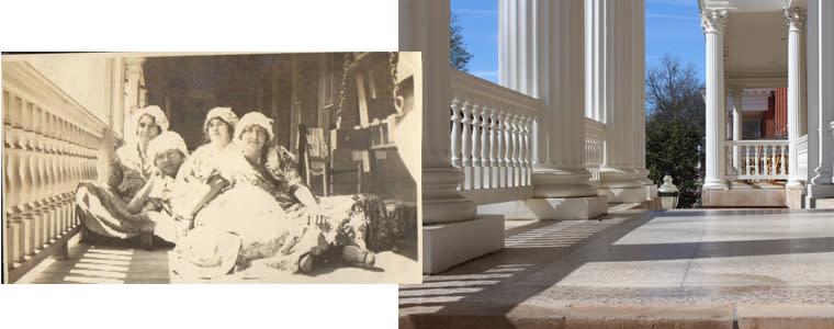 Then and Now Atkinson Porch GCSU