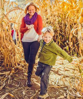 Mom & Son Running - Corn Maze