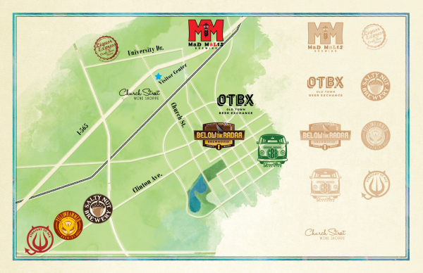 Downtown Huntsville craft beer trail map