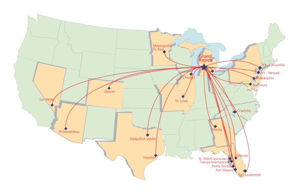 Flights from Grand Rapids, Michigan