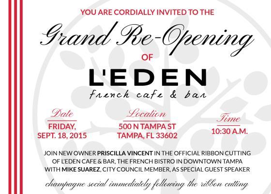 L'EDEN FRENCH CAFÉ AND BAR GRAND RE-OPENING