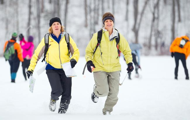 Running to the next Winter Adventure Race Checkpoint