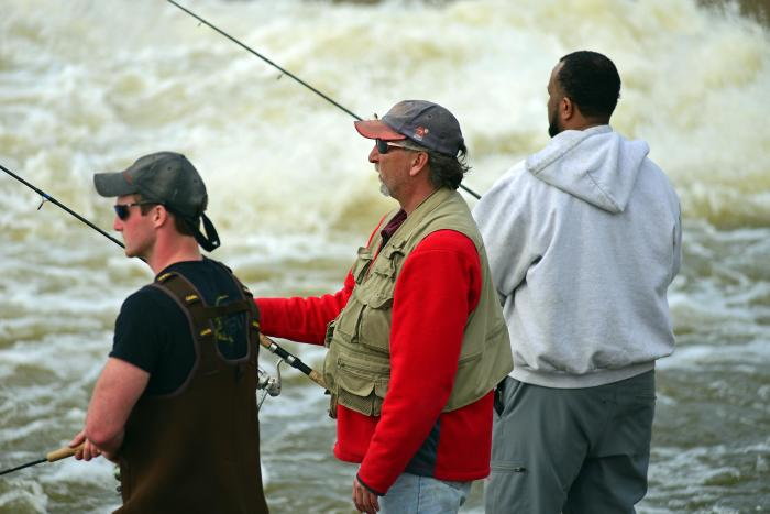 Anglers fishing on the Grand River