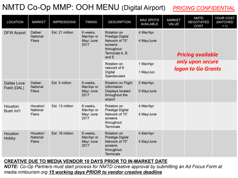 NMTD Co-Op MMP: OOH Menu (Digital Airport)