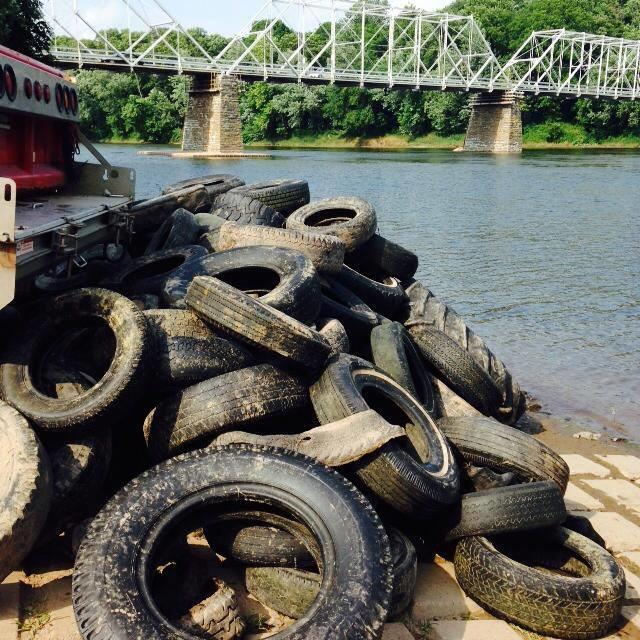 Tire Pile from the Delaware River CleanUp by Kittatinny Canoes