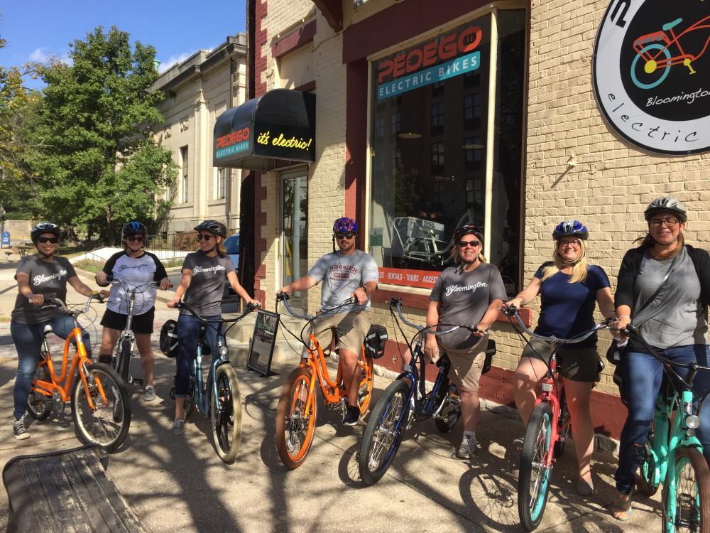 Staff on electric bikes