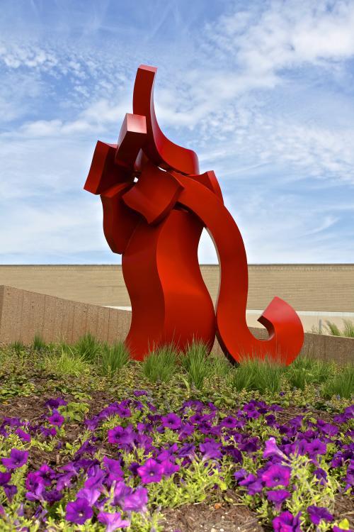 red trunk sculpture
