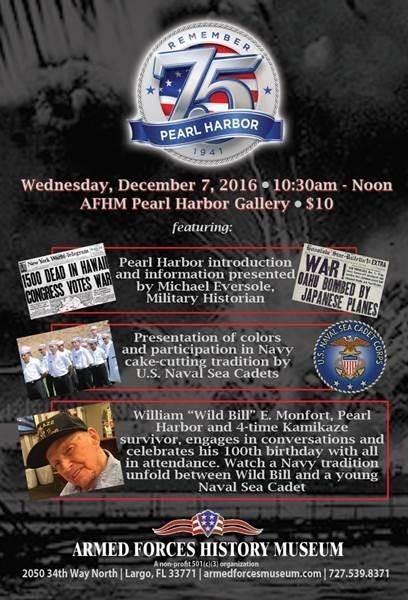"75th Anniversary of Pearl Harbor Recognition with 99 y/o Survivor, William ""Wild Bill"" E. Monfort"