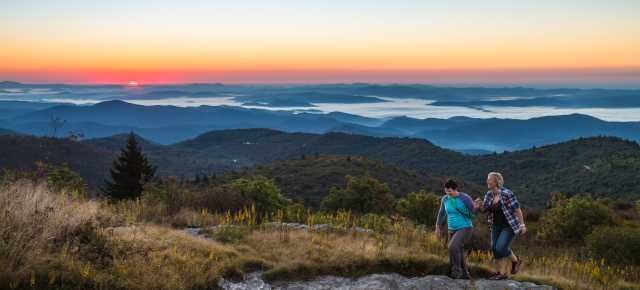 Couple Hiking at Black Balsam at Sunrise