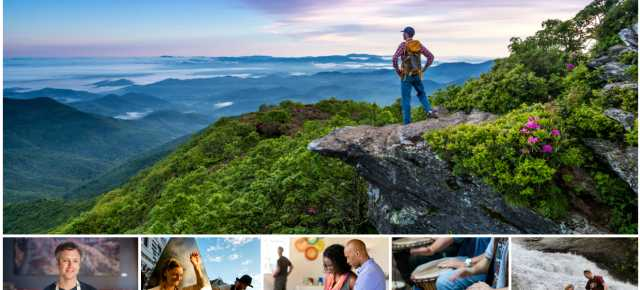 Sweeping mountain views, great food, and lively music create the vibe in Asheville