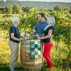 Couple at Winery at Hunters Valley Tasting in the Vineyard