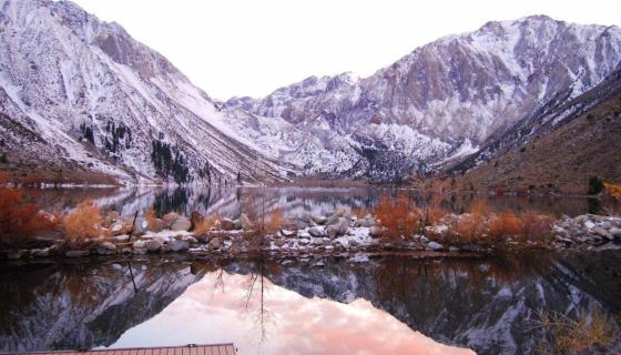 Convict Lake winter with fall colors