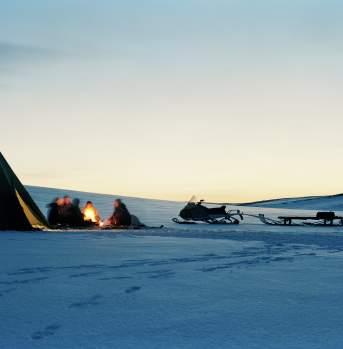 Sami tent on the Finnmarksvidda mountain plateau