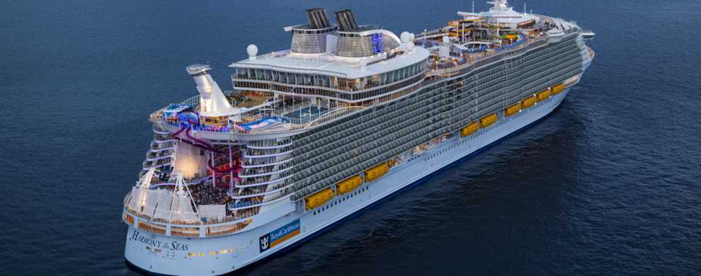 Aerial photo of Royal Caribbean's newest ship, Harmony of the Seas